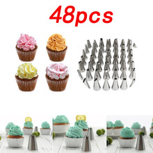 48 head stainless steel cake set with cream nozzle baking tool set