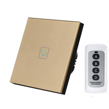 цена на EU Standard Remote Control Switch 1 Gang Smart Wall Touch Light Switch LED Indicator Crystal Tempered Glass Panel Switch