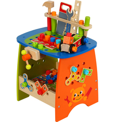 90Pcs/set Children Wooden Deluxe Workbench Pretend Repair Tool Table Educational Play Toy Gift For Kids Boys