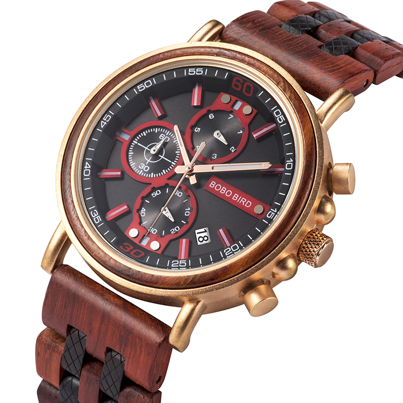 BOBO BIRD Wood Watch Men Chronograph Military Stopwatch Male Timepieces Show Date For Boyfriend Gifts Box Relojes Hombre