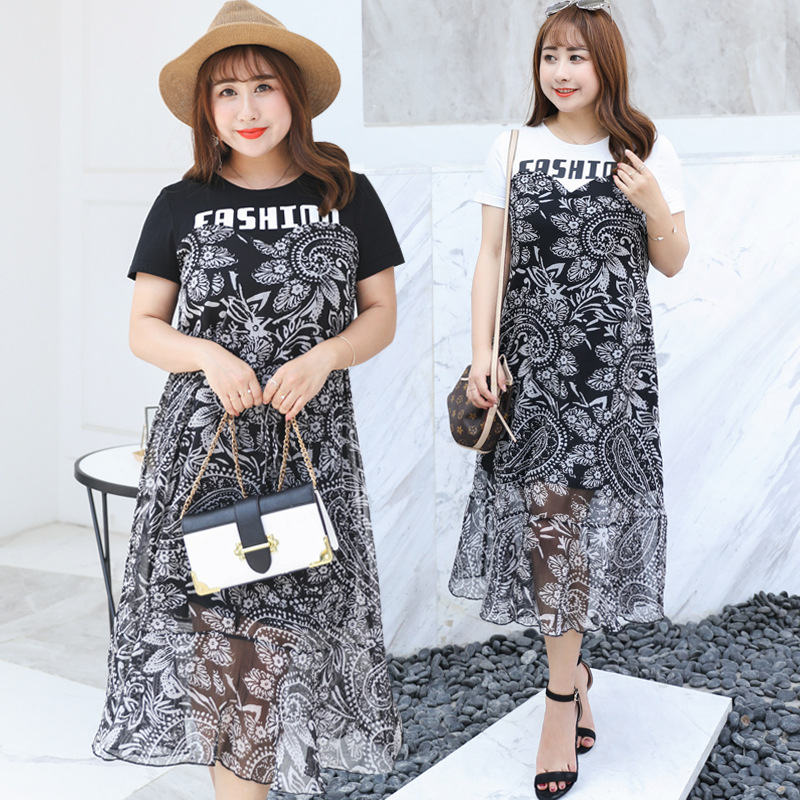 2019 Summer New Products Large Size Dress Fake Two-Piece Dress Cool Chiffon Ethnic-Style Skirt Fat MM6611