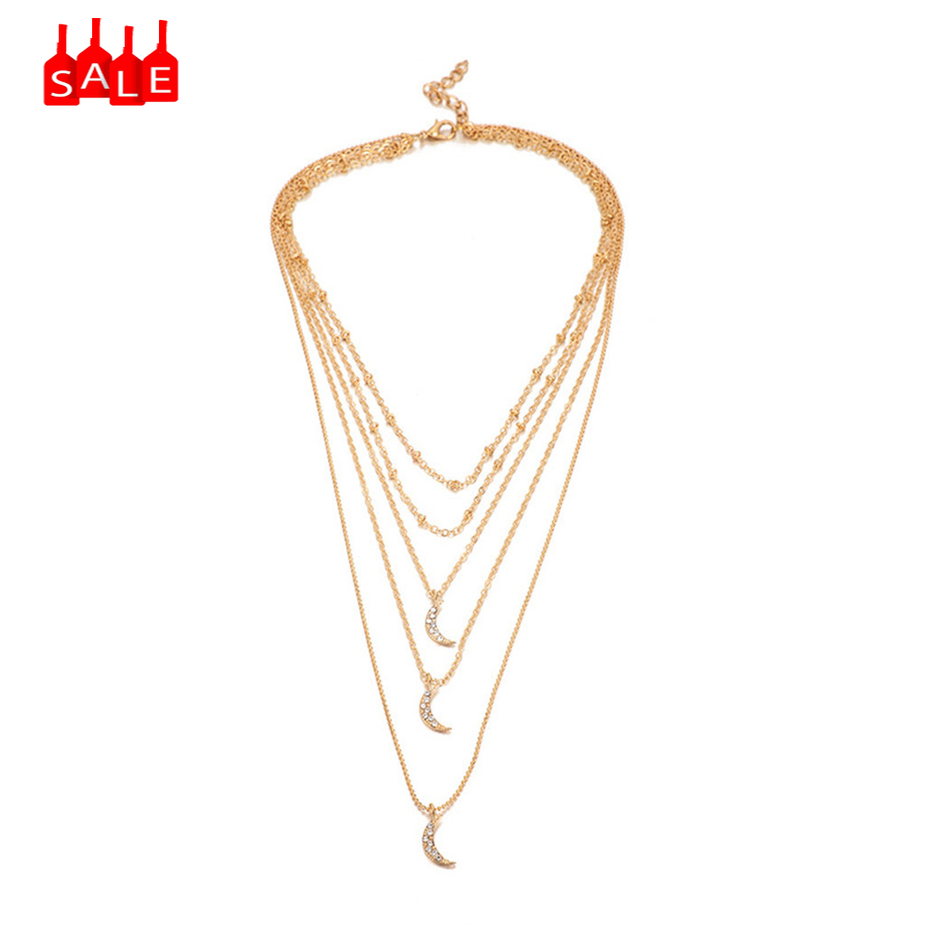 Simple Personality Fashion Diamond Moon Multi-Layer Chain Necklace Alloy Boho Pendant Necklace for Women Long Chain Round #ZD
