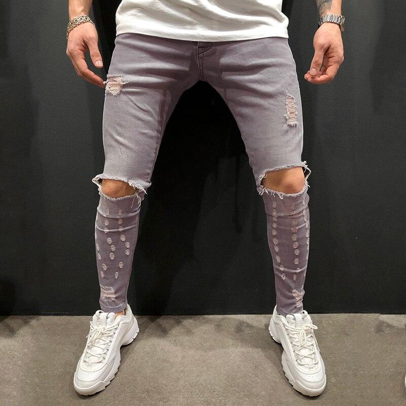 Men Jeans European Size Men's Grey Fashionable Jeans Men Clothes 2019