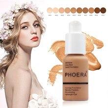 Phoera 30ml base de fundação rosto longo usar hidratante controle de óleo corretivo líquido fundação creme de longa duração 24 horas tslm1