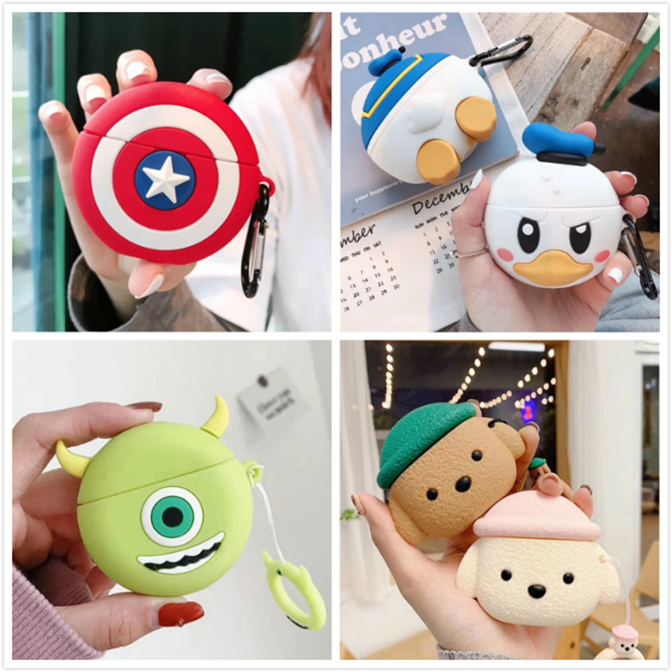 3D Cartoon Earphone Case For Huawei Freebuds 3 Case Cute Bear Pig Silicone Cover For Huawei Freebuds 3 Pro Cases With Keychain
