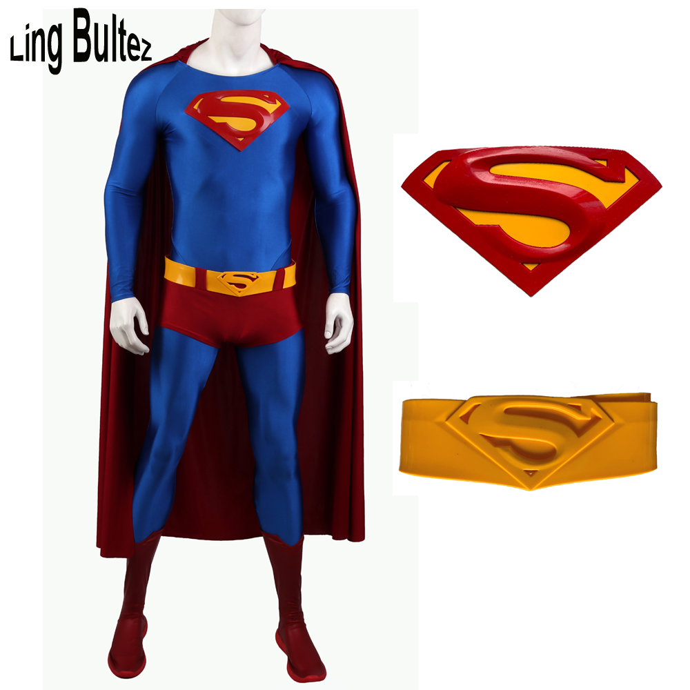 Ling Bultez High Quality Relief Logo Superman Returns Costume With Relief Belt New Superman Cosplay Costume