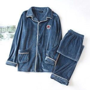 Image 3 - JULYS שיר אישה איש סתיו חורף פיג מה להגדיר 2 חתיכות עבה פלנל הלבשת זוג חם פיג מה ורוד ארוך שרוול Homewear