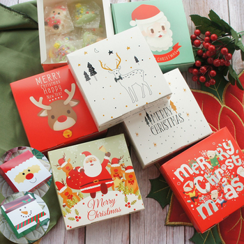 14*14*5cm 10pcs Merry Christmas Santa Claus Paper Box cookie Macaron Christmas Birthday Party Gifts Packaging