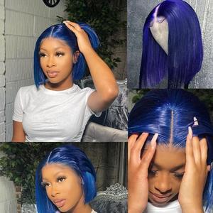 Image 5 - Couleur BOB dentelle perruques pré plumé bleu BOB avant dentelle partie moyenne rouge perruque brésilienne Remy cheveux 13x1 T partie dentelle perruque 180% BOB perruques