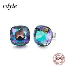 Cdyle украшенные кристаллами серьги-гвоздики женские серьги Австрийский горный хрусталь серьги из стерлингового серебра 925 пробы