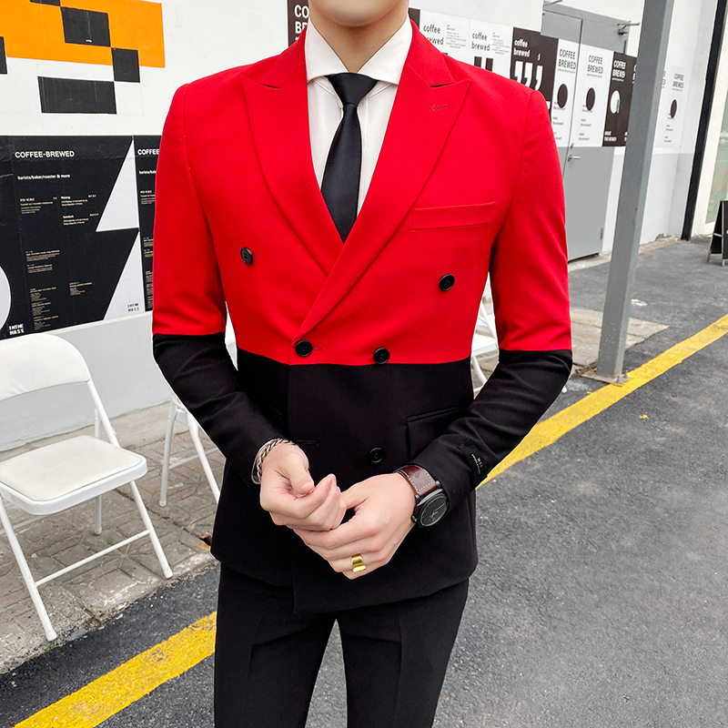 New Men's Patchwork Suit Jacket Korean Men Blazer Double Breasted Slim Fit Casual Formal Wedding Suit Prom Blazers Costume Homme