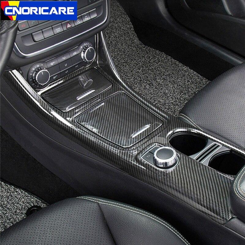 Автомобильный Центральный держатель стакана для воды из углеродного волокна, украшение панели ABS 3 шт. для Mercedes Benz GLA CLA класс 2013-18 LHD