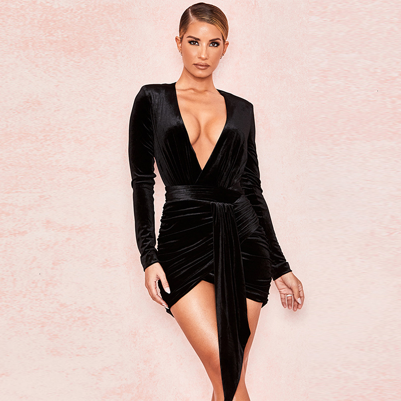 COSYGAL 2019 Autumn Winter Dress Lace Up Sexy Velvet Dresses Deep V Neck Bodycon Party Dress Women Clothes Long Sleeve Vestidos