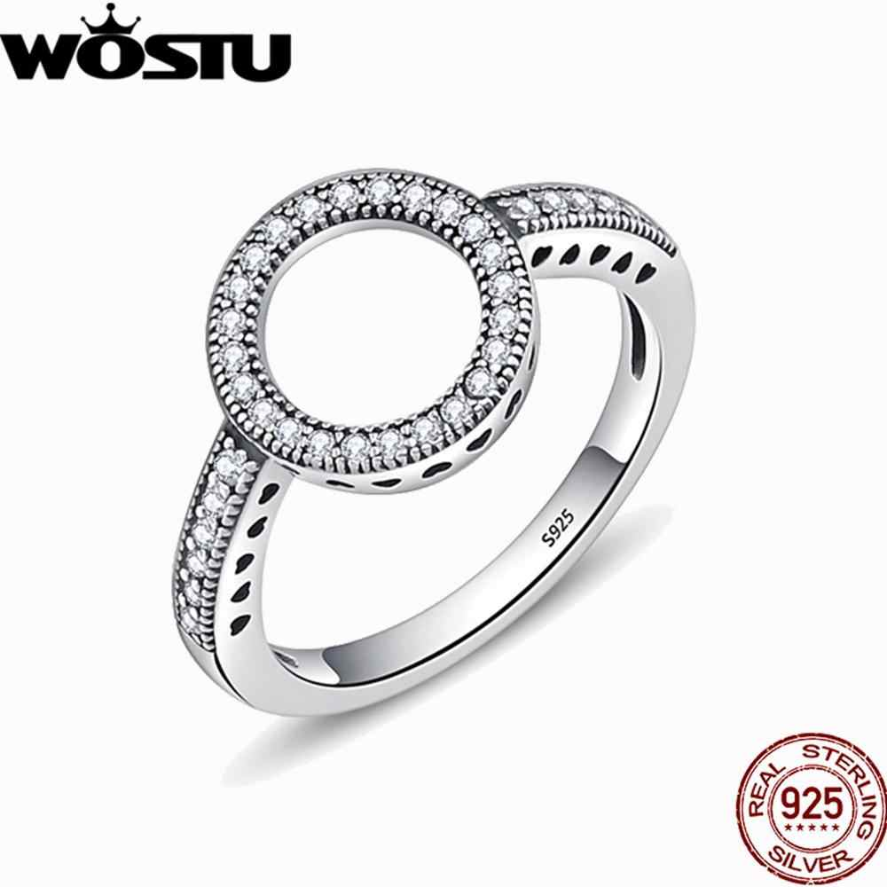 WOSTU Hot Sale 100% Real 925 Sterling Silver Rings For Women Cat Rainbow Lucky Ring Luxury S925 Jewelry Gift Dropshipping