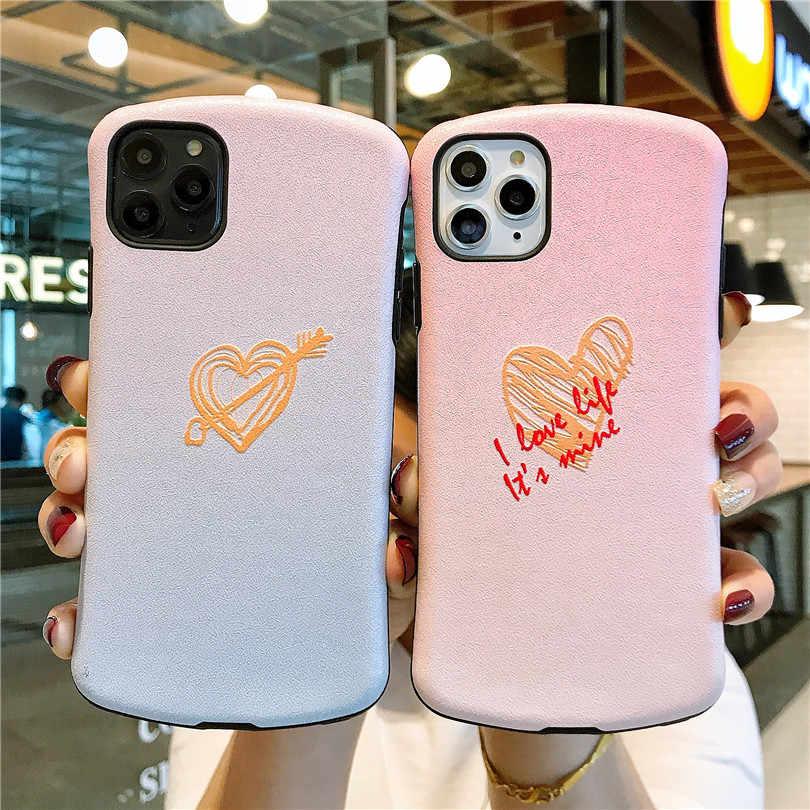 Hoạt Hình Dễ Thương Nhỏ Vòng Eo Giảm Chống Rơi Gradient Tình Yêu Dành Cho iPhone 6 6S 7 8Plus iPhone X XR 11 max Pro Bao Da Ốp Lưng Điện Thoại