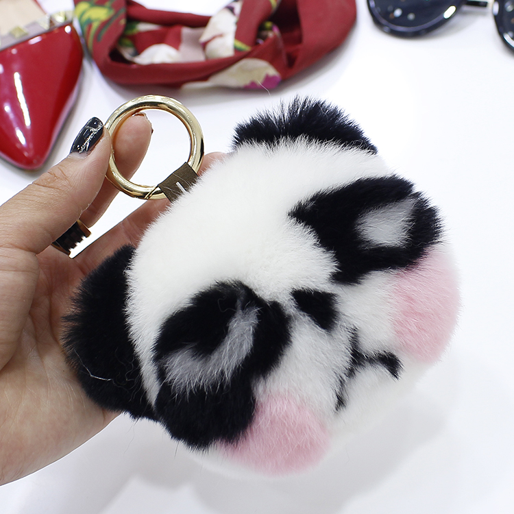 Super cute bear head Rex rabbit fur panda doll pendant bag pendant car key chain