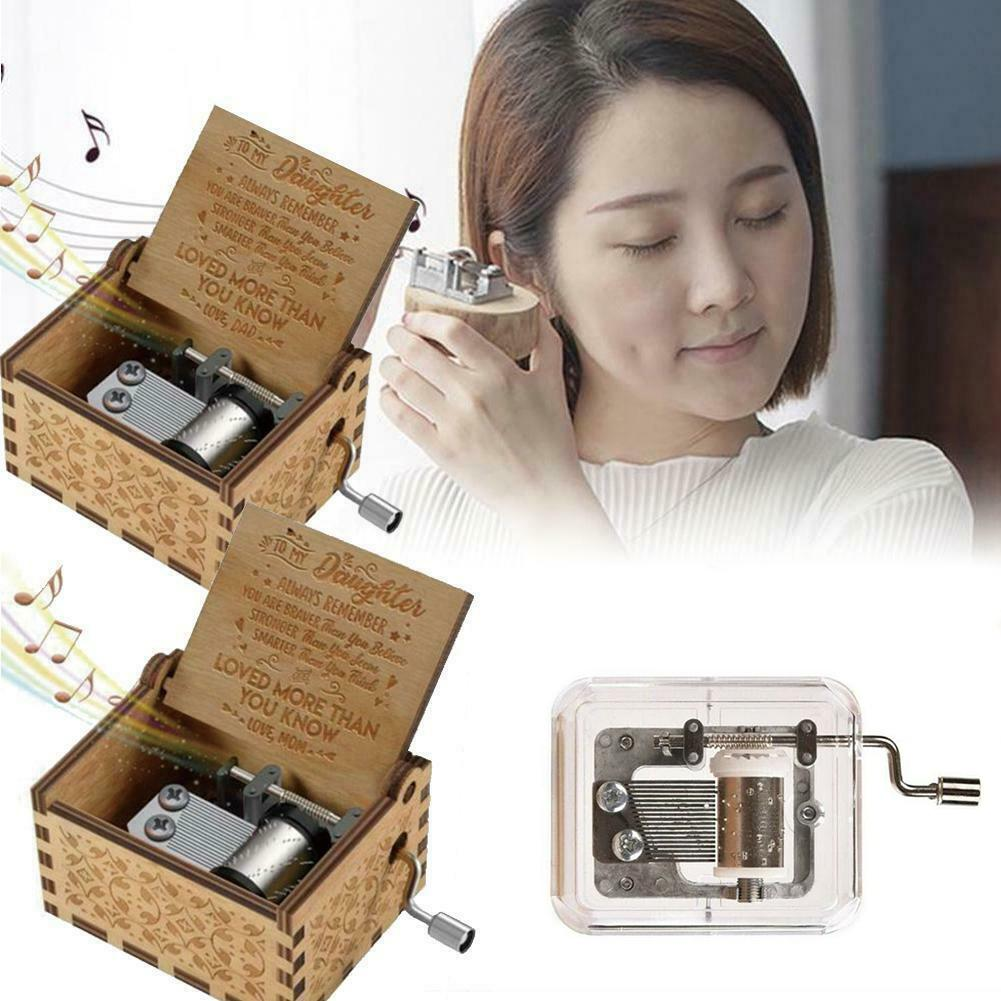 Hand Crank Wooden Engraved Music Box Design Mom/Dad to Daughter Ornament Kids Toy Gift different surfaces new sound