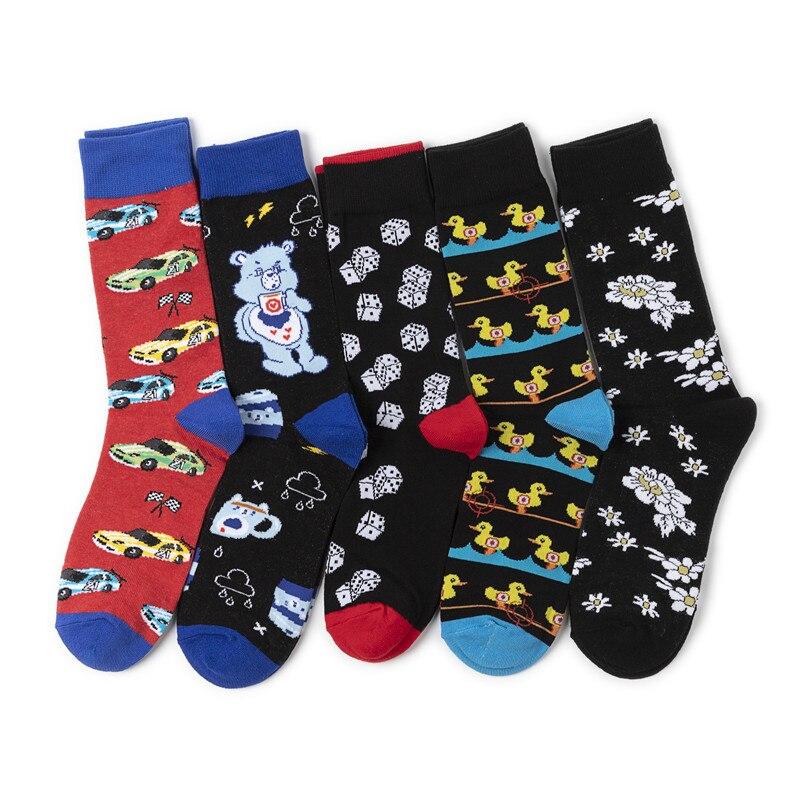 Autumn Winter New Happy Socks For Men And Women Creative Cartoon Alien Small Bear Car Pattern Breathable Jacquard Socks