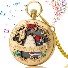 Luxury Music Pocket Watch Men's Gold Birthday Pocket Clock Quartz Black Gold Dial Ladies Pendant Chain Watches Birthday Gifts