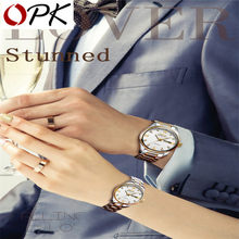 OPK Watch Couple Watch Fashion Quartz Watches Simple Watch Luxury Waterproof Business Wristwatch light cozy For Lover Watch Gift(China)
