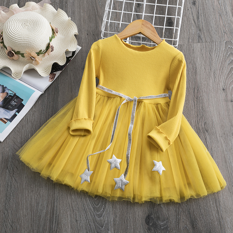 New Arrival Petal Sleeve Girls Spring Summer Dress Flower Wedding Dresses Solid Children Party Costumes Kids Baby Clothing 3 7Y 5