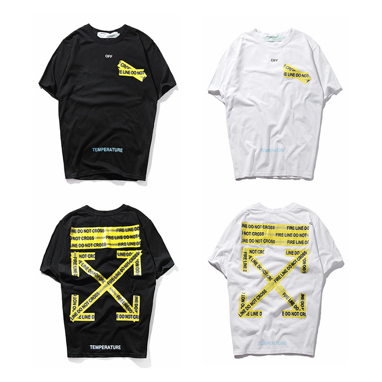 2019 Spring And Summer Europe And America Popular Brand Off-White Yellow Alert Article Arrowhead Couple Clothes Short Sleeve T-s