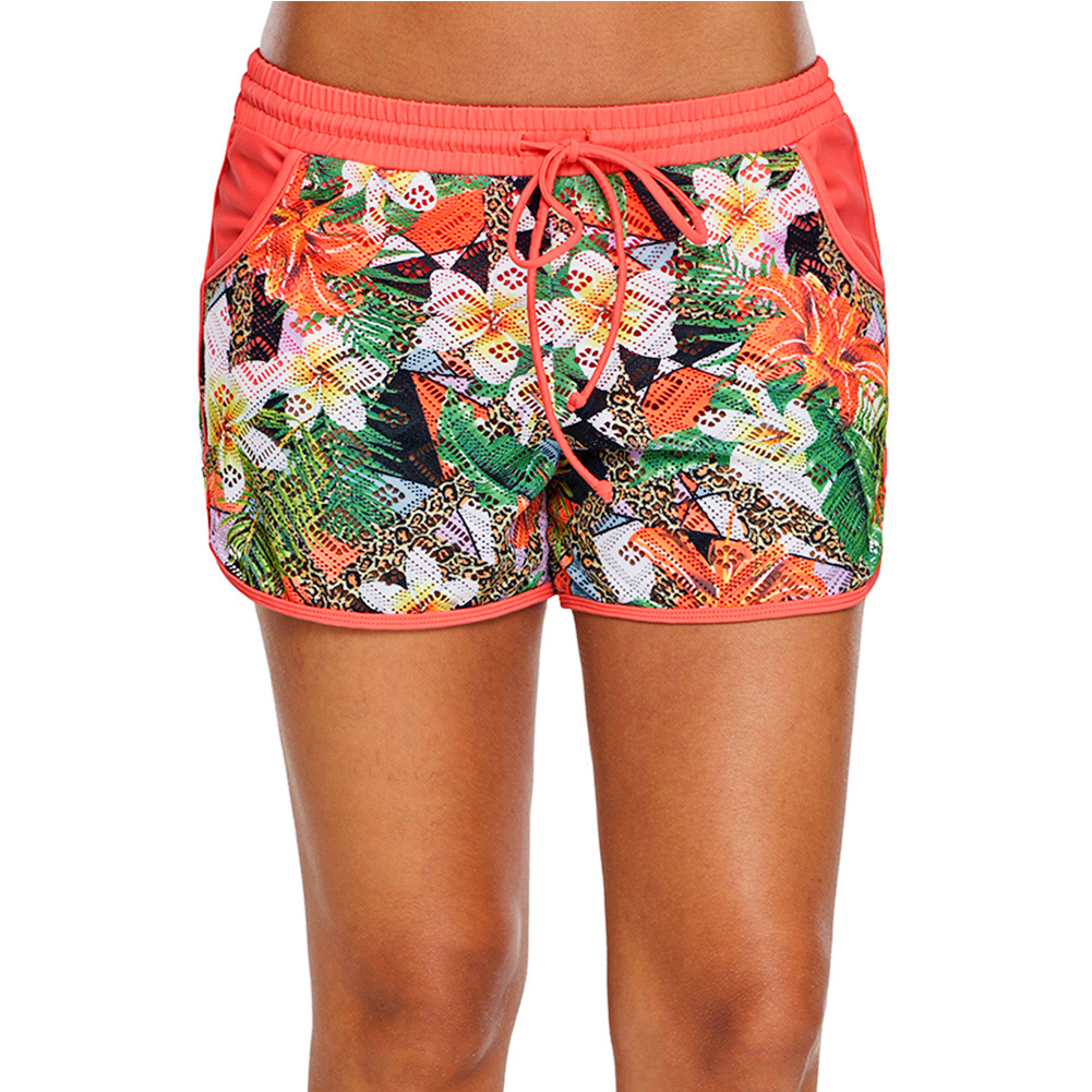 Women's Loose-Fit Athletic Pants Night Pao Ku Yoga Shorts Lace-up Printed Beach Shorts Lace Boxers