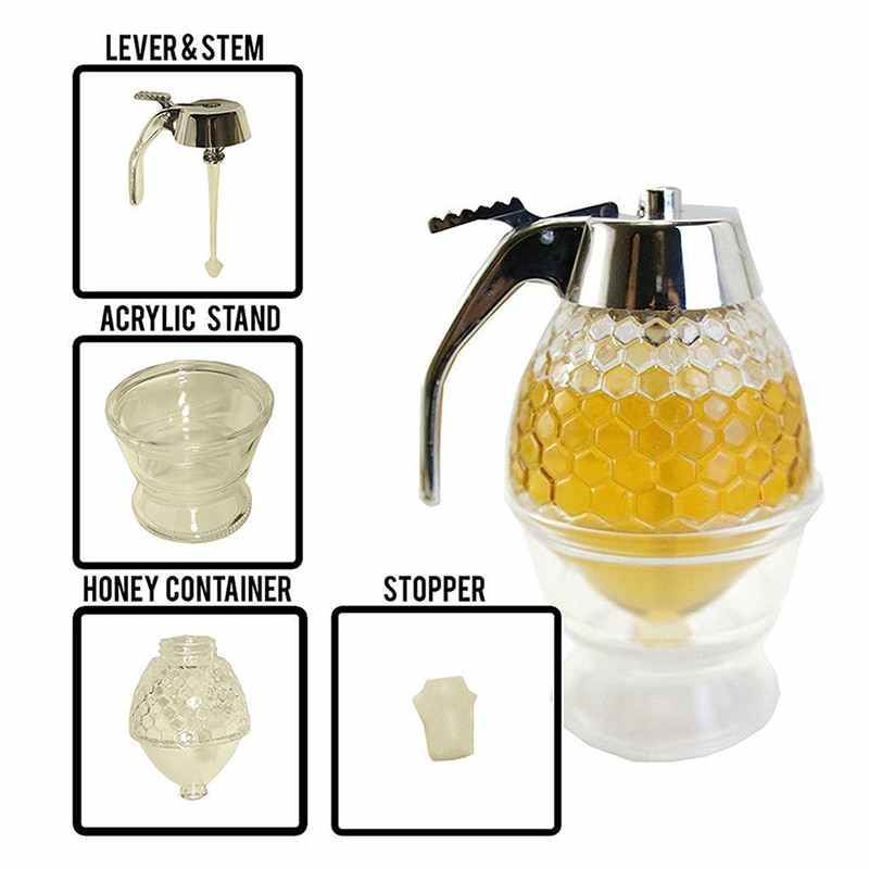 Honey Dispenser Jar Container Cup Juice Syrup Kettle Kitchen Bee Drip Stand Holder Portable Storage Pot