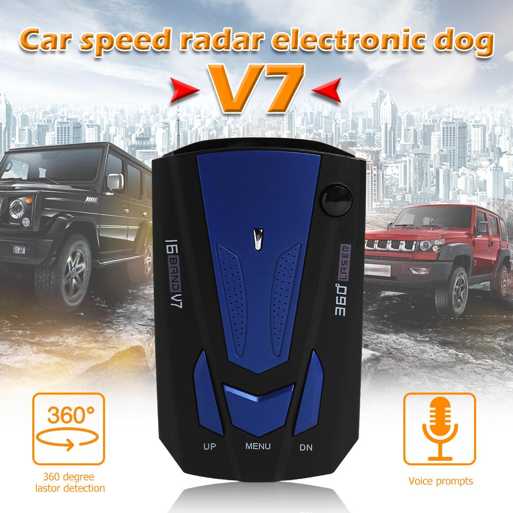 Car Radar Detector 360 Degree Vehicle V7 Control Speed Voice Alert Alarm Warning 16 Band LED Display English Russian Auto