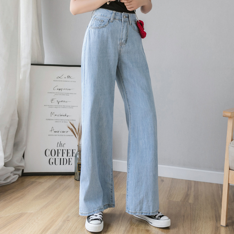 Thin Section Jeans Female Summer Loose Light Color Straight Net Red Mopping Trousers 2019 New Wide Leg Pants