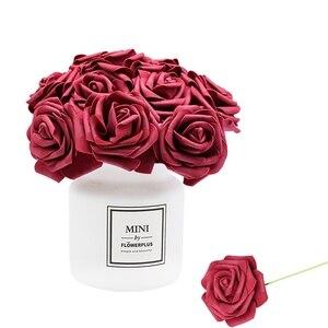 24Pcs/lot Artificial Rose Bouquet Decorative Foam Rose Flowers Bride Bouquets for Wedding Home Party Decoration Wedding Supplies