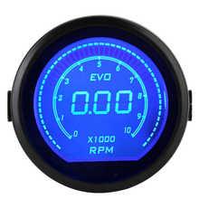 Tacómetro Digital LCD Universal para coche, medidor de RPM de 2 pulgadas, 52mm, serie EVO, retroiluminación roja y azul, 12V, 0-9990RPM