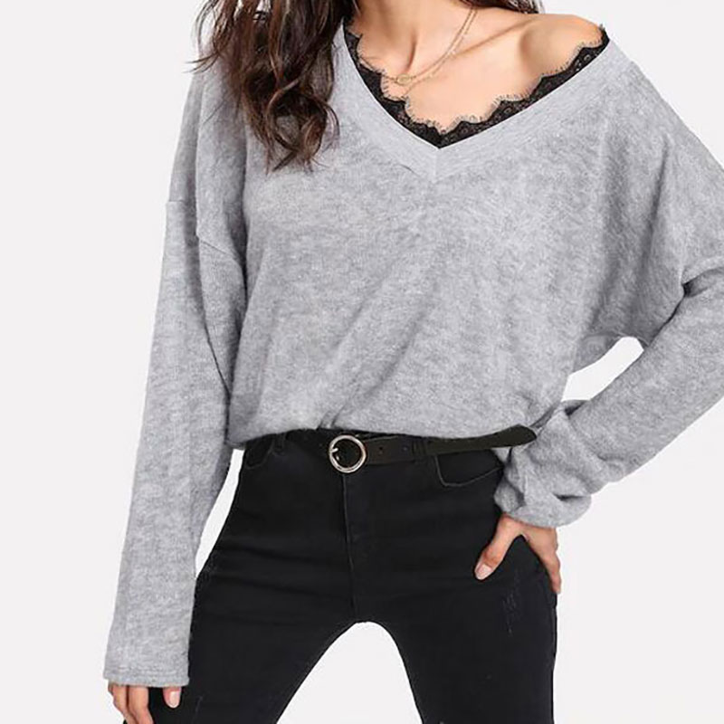 2019 New Autumn Women's Sweaters V-neck Lace Long-sleeve Knitted Sweater Female Jumper Pullover Knitwear Pull Femme jersey