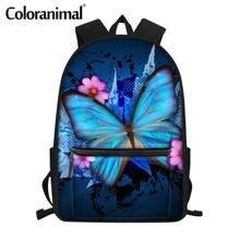 Цветные детские школьные сумки с принтом бабочки рюкзаки коричневого