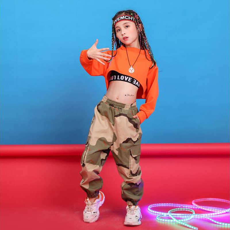 Kinderen Hip Hop Kleding Sweatshirt Top Crop Running Casual Broek Voor Meisje Kid Jazz Dans Kostuum Dragen Stijldansen Kleding