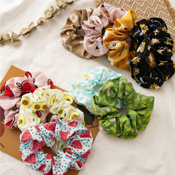 Women Fruit Print Hair Ties Scrunchies Girls Ponytail Hair Holder Rope Bands Fashion Cute Hair Accessories Rubber Bands Headwear