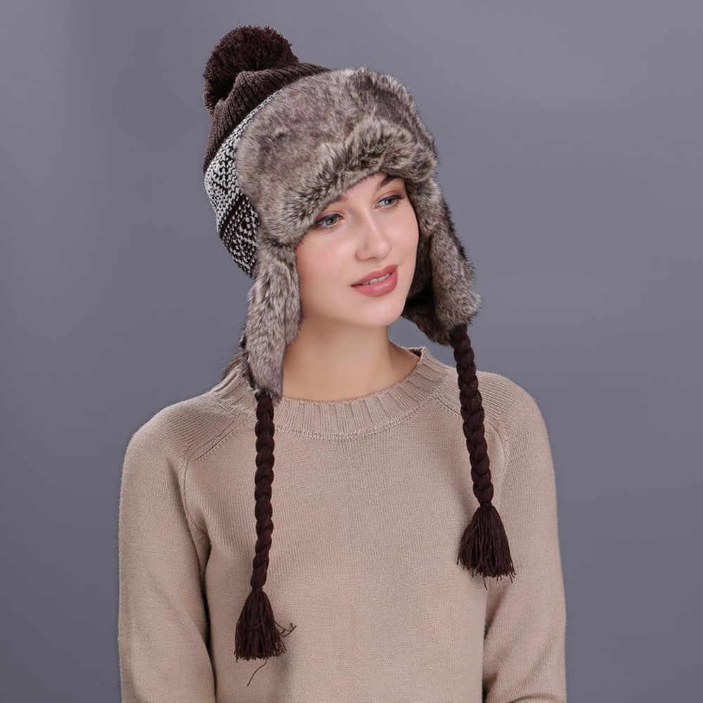 Winter Women Hats Velvet Warm Thickened Ear Flaps Winter Hats For Women Russian Bomber Hat Pompom Snow Hat Earflap Caps New #Z4