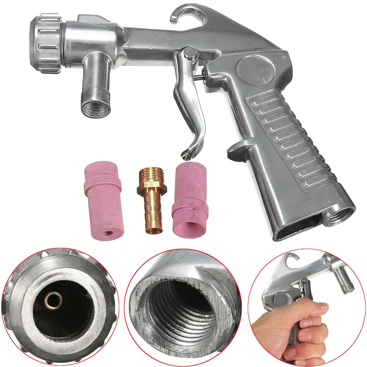 Sandblaster Feed Blast Guns  Siphon Sand Blasting Abrasive Tool Ceramic  Tools Sprayer  Tips Kit With 2 Nozzle 5/6mm