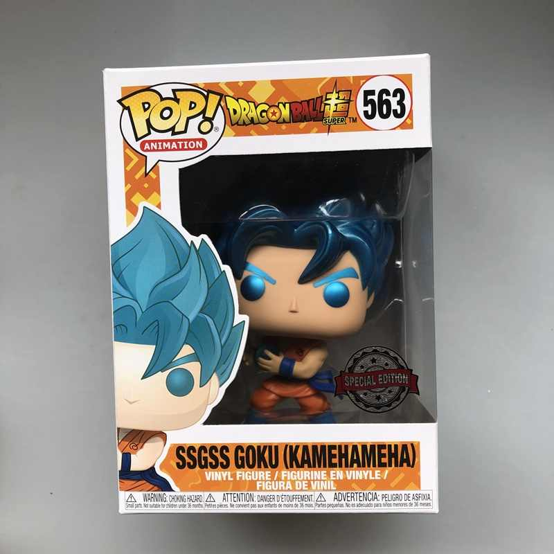 Funko pop Goku Dragon Ball Super-SSGSS Oficial exclusivo (Kamehameha) Metallic Vinyl Action Figure Collectible Modelo Toy