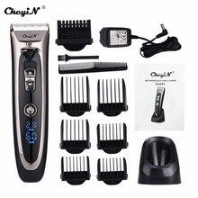 Profesyonel saç kesme makinesi güçlü saç kesme makinesi titanyum seramik bıçak saç düzeltici elektrikli jilet LED ekran 0