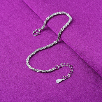 Thin 925 stamped silver plated Shiny Chains Bracelet For Women Girls Friend Jewelry Korean Fashion Trendy Jewelry 2