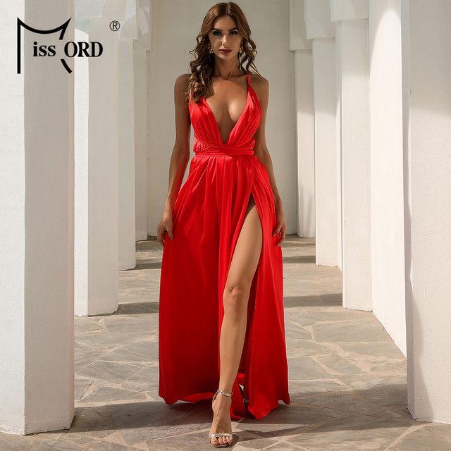 Missord Summer Female V-neck Backless Evening Party Dress High Split Backless Holiday Beach Dresses Sexy Maxi Dress FT2462 5