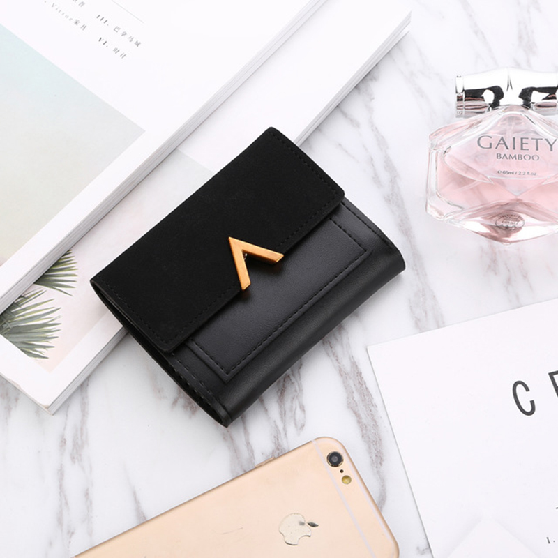 New Luxury Ladies Wallet Flip Short Coin Purse Card Bag Fashion Trend Brand Wallet PU Leather Car Stitching