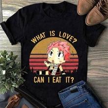 Natsu Dragneel What Is Love Can I Eat It Vintage Camiseta de algodón negro para hombres S-3Xl camiseta de alta calidad