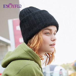 Image 3 - ENJOYFUR Winter rabbit fur hats for women warm wool lining girl  beanies fashion ladies bright color wide side young bonnets new