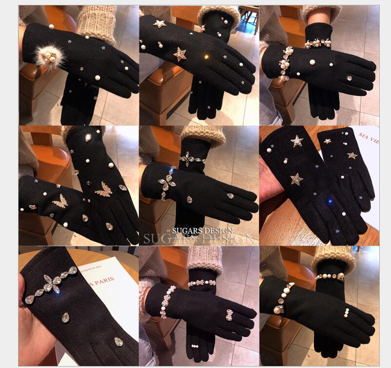 Autumn And Winter New Rhinestone Retro Wind Cashmere Thick Touch Screen Finger Women Gloves