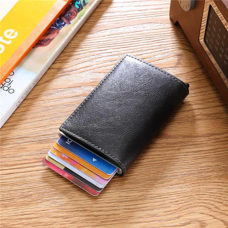 BISI GORO Carbon Faser RFID Sperrung Männer Kreditkarte Halter Leder Bank Karte Brieftasche Fall Karteninhaber Schutz Geldbörse Für Frauen