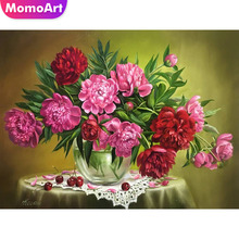 MomoArt Diamond Embroidery Flowers Painting Full Square Drill Picture Of Rhinestone Cross Stitch Peony Home Decor