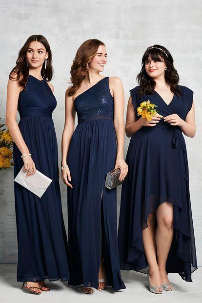 Chiffon Group Long Bridesmaid Dresses Navy Blue Maid Of Honor Dress For Wedding Vestido Dama De Honor Wedding Guests Dress