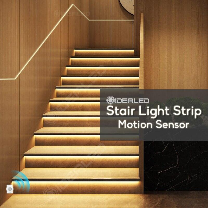 Движения Сенсор Светодиодная лампа для лестничной клетки полосы затемнения света Беспроводной движения в помещении 24V гибкий COB Светодиодн...